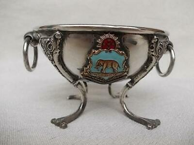 5 / Antique South African Pietermaritzburg Crested Silver Plated Bowl On Legs