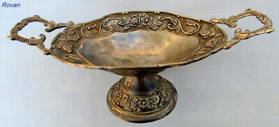 Beautiful Antique Silver Plated Oval Ornate FloralTwo Handled Metal Decor Bowel