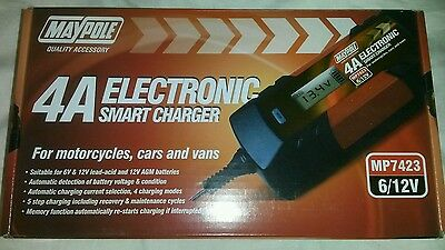 6V 12V Smart Battery Charger Car Caravan Van Motorbike Motorcycle MP7423 12 Volt