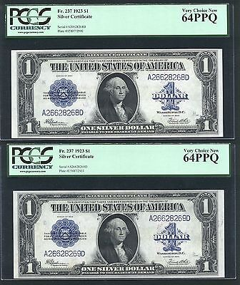 1923 $1 Silver Certificate Banknotes Fr-237, Uncirculated Certified Pcgs-64Ppq