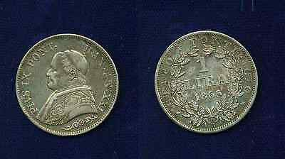 Italy Papal States Pope Pius Ix  1866-R  1 Lira Silver Coin Xf