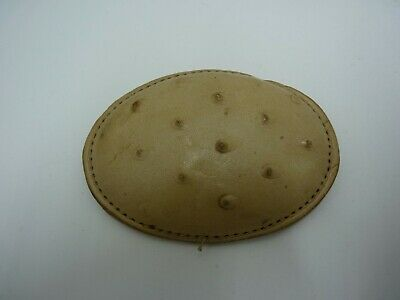 """Vintage 80' Handmade Leather White """"Ostrich"""" Belt Buckle Mexico"""