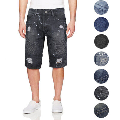 Men's Quilted Distressed Destroyed Worn Casual Moto Slim Fit Denim Jean Shorts