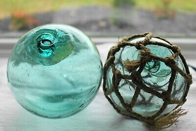 """2 Japanese Glass Fishing Floats, approx 3.5"""" - 4"""" diameter, no marks"""