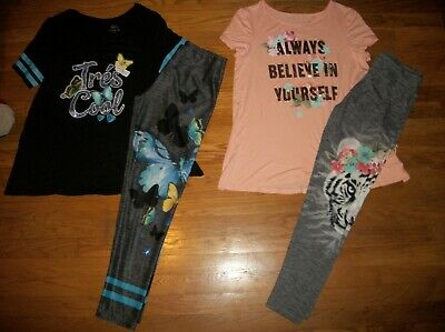 Justice 2 Pc Butterfly Or Tiger Graphic Top & Leggings Set Girls Sz 18 20