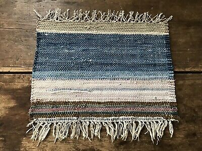 Antique Medium Candle Mat Table Rug Runner Blue Country AAFA Textile