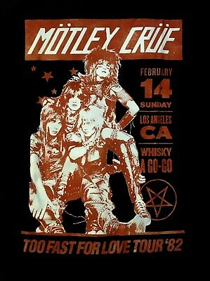 MOTLEY CRUE cd lgo WHISKEY A GO GO '82 Official SHIRT MED New too fast for love