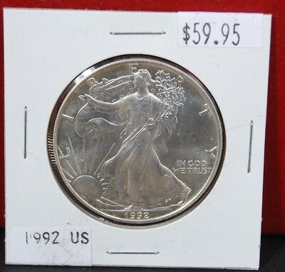 1992 Silver American Eagle BU 1 oz. US $1 Dollar Uncirculated Brilliant Mint *92