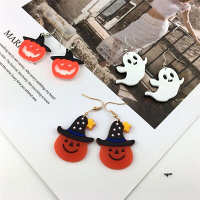 Creative Halloween Fancy Dress Witch Skull Pumpkin Ghost Hook Earrings Jewelry Z