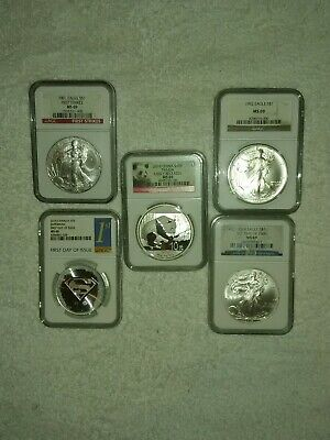 lot of 5 1 oz silver coins
