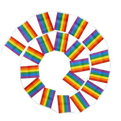 Party Banner Bunting Rainbow Stripes Bright Gay Pride Carnival Home Decor CO