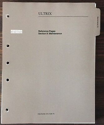 Digital DEC ULTRIX Reference Pages Section 8: Maintenance 1990