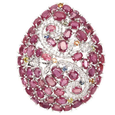 Rare Oval 8x5mm Top Rich Red Ruby Sapphire Cz 925 Sterling Silver Pendant Brooch
