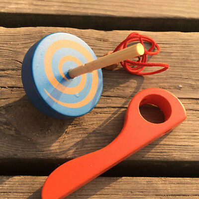 Gyroscope Handle Wire Gyro Toy Wooden Peg-Top Spinning Top For Kids Adult CB