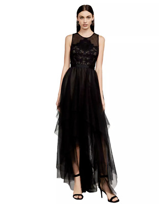 155f725cf01 BCBG MAX AZRIA Riese High-Low Halter Tulle Gown Dress Prom black IBA66N18  2018