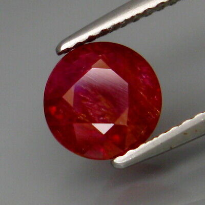 2.21Ct.UNHEATED Best Color Natural Hot Red Pink Ruby Winza,Tanzania Round 7.5mm.