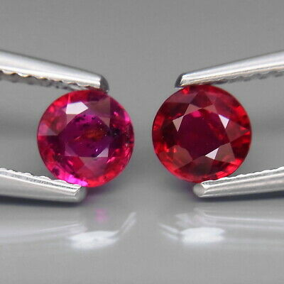 Round 5 mm.PAIR! Best Color Hot Red UNHEATED Ruby Winza,Tanzania 1.26Ct.