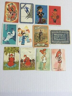 Mixed Lot of 12 X Vintage Swap / Playing Cards - Various People & Cartoons