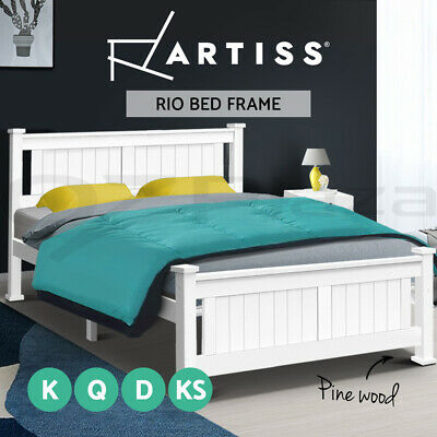 Artiss Queen Double King Single Size Wooden Timber Bed Frame RIO Mattress Base