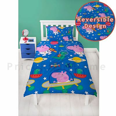 Official Peppa Pig George Planets Single Duvet Cover Set Dinosaur Childrens