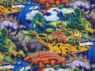 Fat Quarter Rex Dinosaurs Scatter Cream Cotton Quilting Sewing Fabric