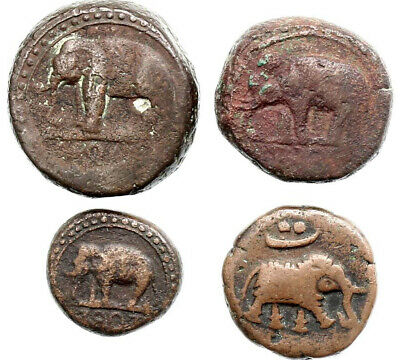 "AA6236) Sri Lanka Ceylon Lot of 4 Cooper coins ""elephant"""