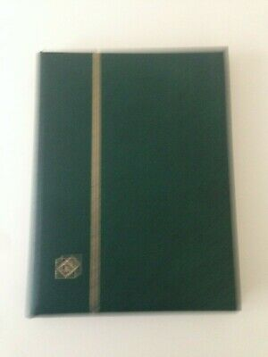 Green 32 side stock book with white pages . Pre- owned but in good condition.