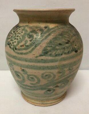Antique Mandalay / Burmese  Stoneware Lead Glazed Green & Cream Glazed  Vase