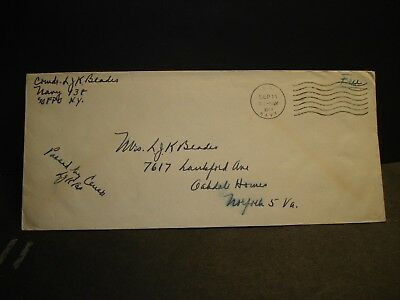 Navy #138 Bermuda, British West Indies 1944 Censored WWII Naval Cover Officer