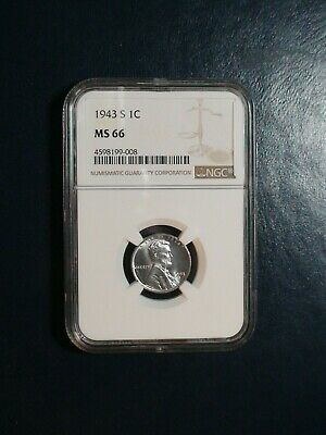 1943 S Lincoln Wheat Cent NGC MS65 STEEL GEM 1C Coin Auction Starts At 99 Cents!
