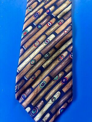 Classic Cigars Diagonally Stacked On Novelty Alynn Neckwear Tie Stogie Pattern