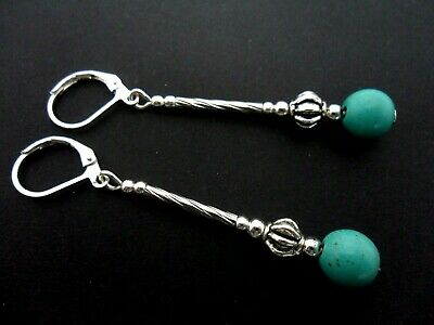 A Pair Of Long Turquoise Bead Dangly Leverback Hook Earrings . New