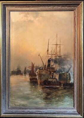 Henry Cooper - Fine Antique English Oil - River Thames & City Of London Shipping