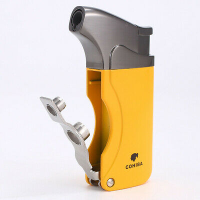 COHIBA Pattern High Grade Metal Refillable 2 Torch Jet Fire Flame Cigar Lighter