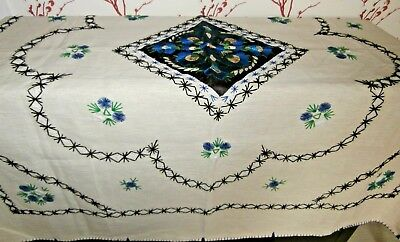 """IVORY IRISH LINEN with HAND WORKED EMBROIDERY LARGE TABLECLOTH ~ 55"""" square"""
