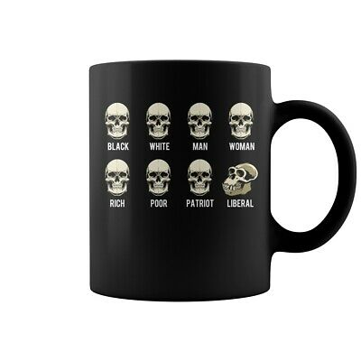 Skull black white man woman rich poor patriot liberal Mug