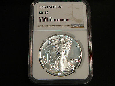 1989 $1 American Silver Eagle 1 oz ounce pure 999 NGC MS69 Superb Gem Unc.
