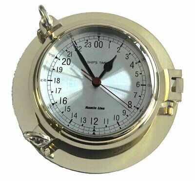 G3069: Luxury Portholes Clock with 24 Stunden Display, Polished Brass Ø 22 Cm