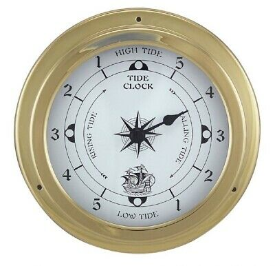 Tidenuhr, Ship's Clock, Maritime Tide Watch in Brass Case Ø 14,5 CM