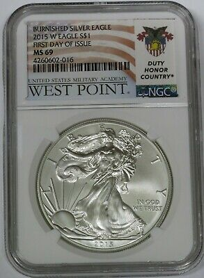 2015-W Burnished Silver American Eagle, First Day of Issue ~ NGC Graded MS69