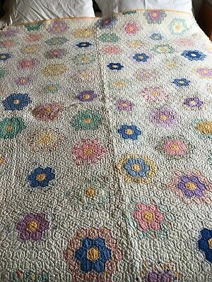"""Early 1930's Quilt- FLOWER GARDEN Pattern-  63""""x78"""" Pretty Pastels,Charming"""