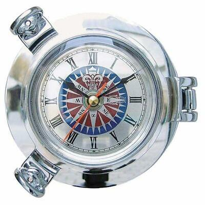 G4954: Schiffs- Watch,Portholes Clock with Windrosen Dial,Chrome-Plated Ø 14 Cm