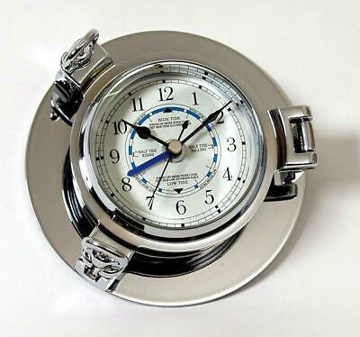 G3005: Fine Portholes Watch, Tidenuhr Chrome, Tide Clock with Tide Pointer 14 Cm