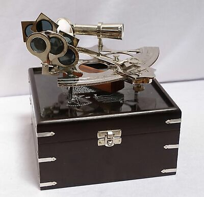 G1004: Huge Silver Mirror Sextant in Ebonized Wooden Box, Nickel-Plated