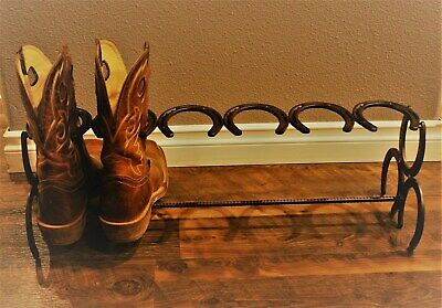Horseshoe Boot Rack 3 Pair Hand Made New Steel Horse Shoes