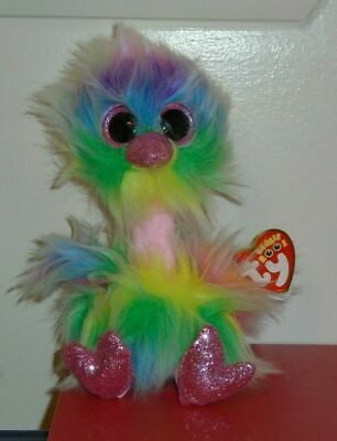 NEW 2019 Release Ty Beanie Boos ~ ASHA the Tie Dyed Ostrich (6 Inch) IN HAND