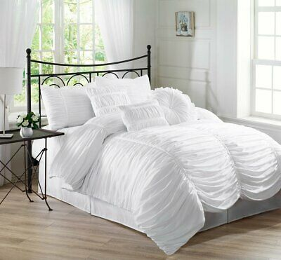 """9pc Blue Brown White Pintuck Pleated Stripe /""""REMOVABLE COVER/"""" Comforter Set King"""