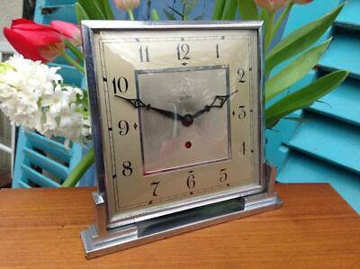 Vintage Art Deco Centrepiece Chrome Clock Smiths Electric Superb 1920's CHIC