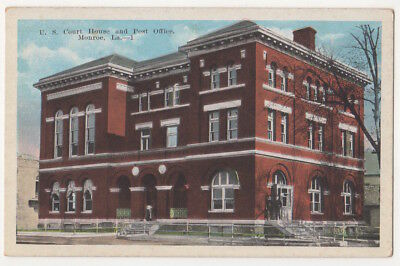 Monroe Louisiana c1920's U. S. Court House and Post Office, vintage postcard