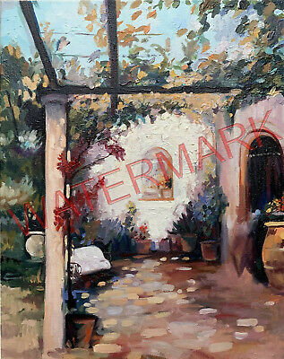 Original Painting of a colorful Cortile, Beautiful colors, 16x20 by Jeff Schaub
